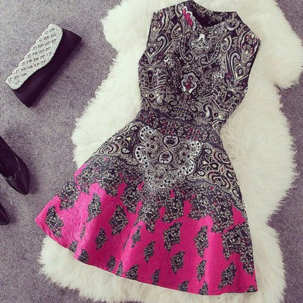 dress instagram dress party dress black and white printed dress pink dress black dress short dress pink black white short