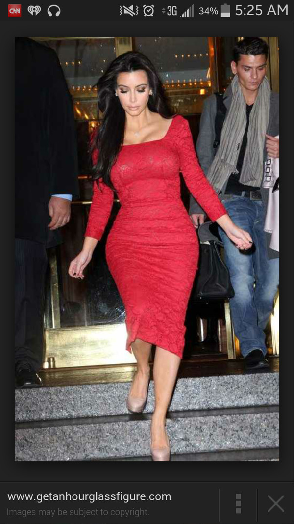 kim kardashian red dress lace dress