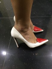 shoes,white patent,high heels,heart shaped