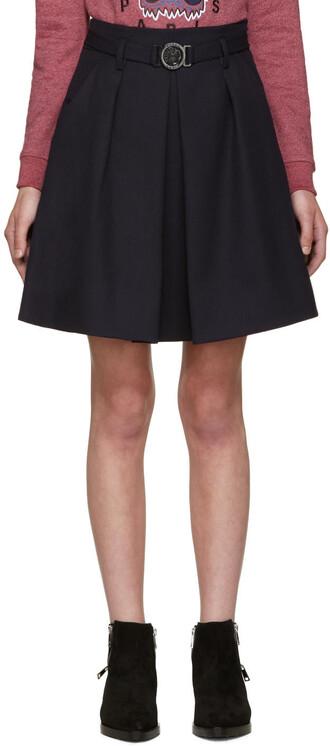 skirt blue wool