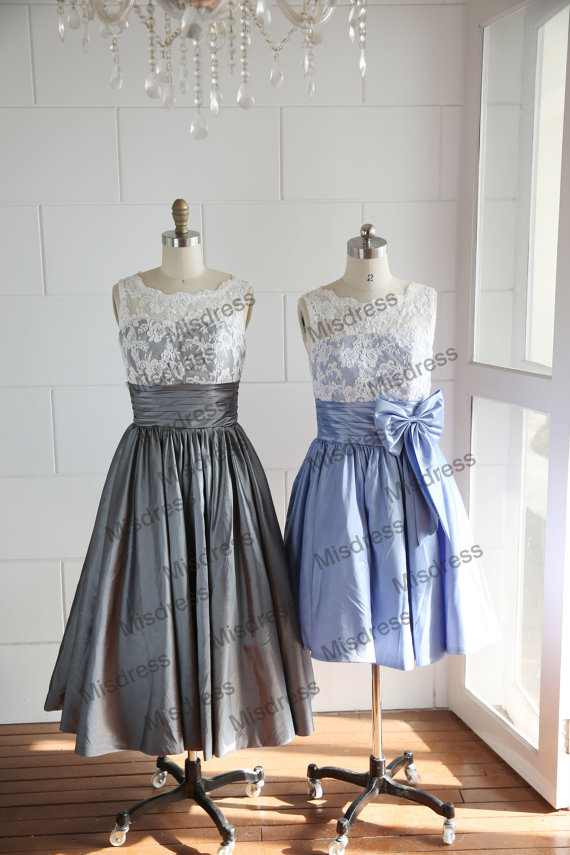 Vintage inspired v back lace ivory blue grey taffeta for Silver tea length wedding dresses