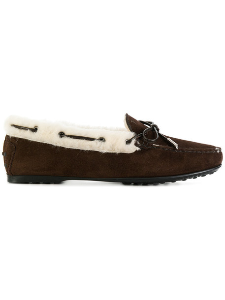 TOD'S fur women loafers suede brown shoes