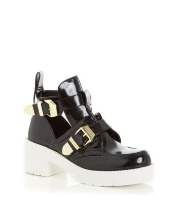 Monochrome Chunky Cut Out Buckle Ankle Boots
