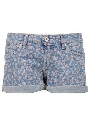 Floral denim shorts by ichi