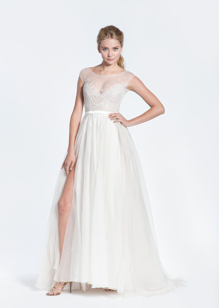 Paolo Sebastian Swan Lake Wedding Dress with Nude Bustier ...