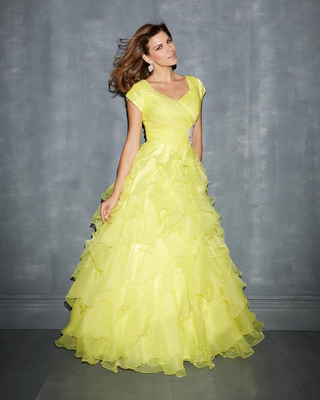 rhinestone square floor ruffles ruched organza light yellow