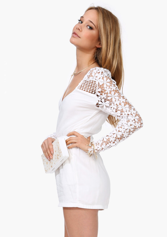 White V Neck Lace Long Sleeve Jumpsuit - Sheinside.com