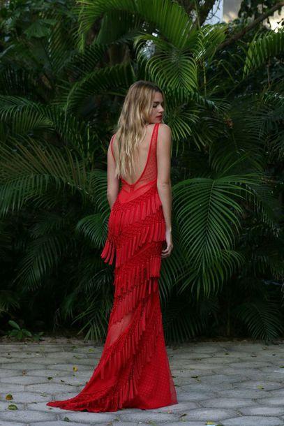 bc30a87b45d dress maxi dress long dress red dress fringes fringed dress open back open  back dresses backless