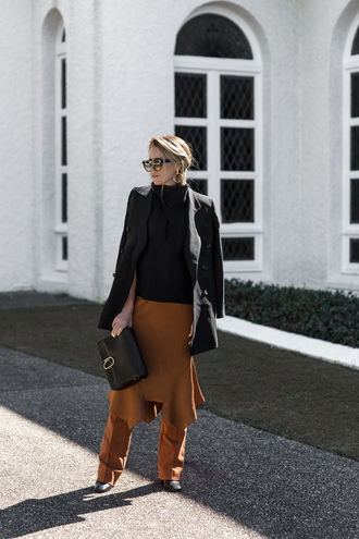 oracle fox blogger jewels jacket top skirt pants bag sunglasses camel pants midi skirt camel skirt black top coachella coat black coat black bag hoop earrings earrings fall outfits chic