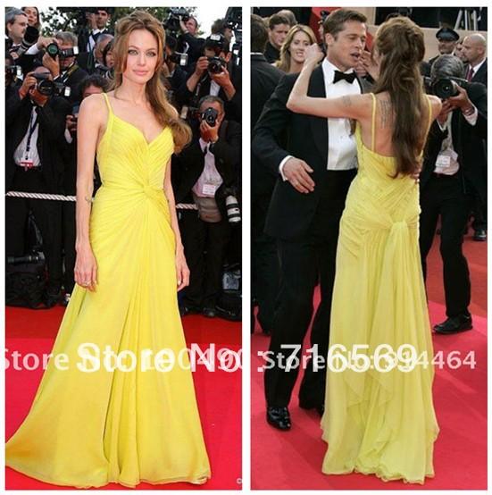 com : Buy Free shipping Oscar Star Angelina Jolie Yellow chiffon ...
