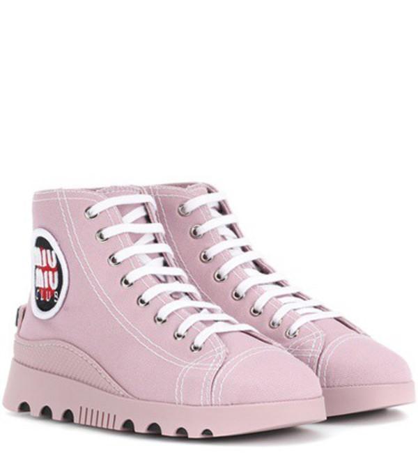 Miu Miu High-top canvas sneakers in pink