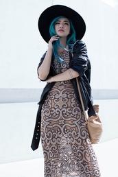 feral creature,blogger,dress,hat,bag,jewels