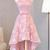 Pink Sleeveless Homecoming Dress,Simple High Low Halter Prom Dress With Bow,New Arrival2017 · lightdress