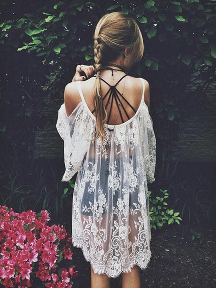 hipster crochet frills boho classy indie overthrow beach sun kawaii grunge vogue lace dress cover up