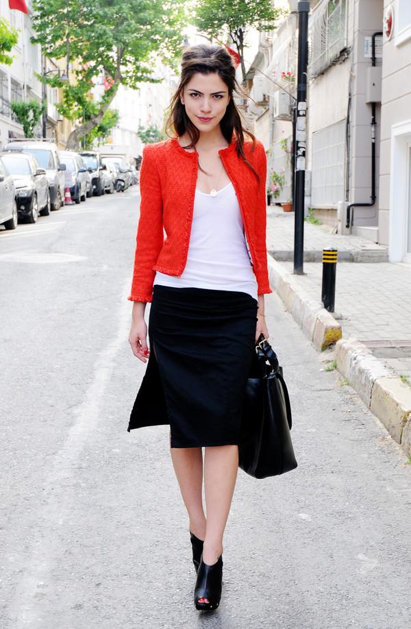 maritsa skirt jacket t-shirt bag jewels