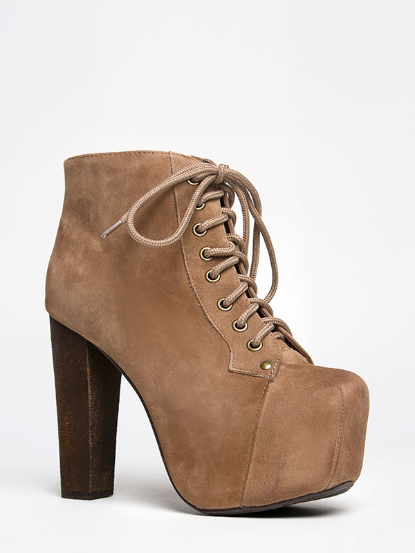New jeffrey campbell lita women taupe suede platform pump lace booty wood heel