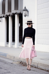 hallie daily,blogger,hat,pink skirt,sandals,midi skirt,flare,skirt,top,bag,sunglasses,jewels,shoes,streetstyle,asos,cropped,stuart weitzman