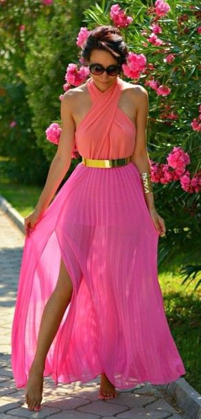 dress ombre pink ombre dress gold belt sunglasses