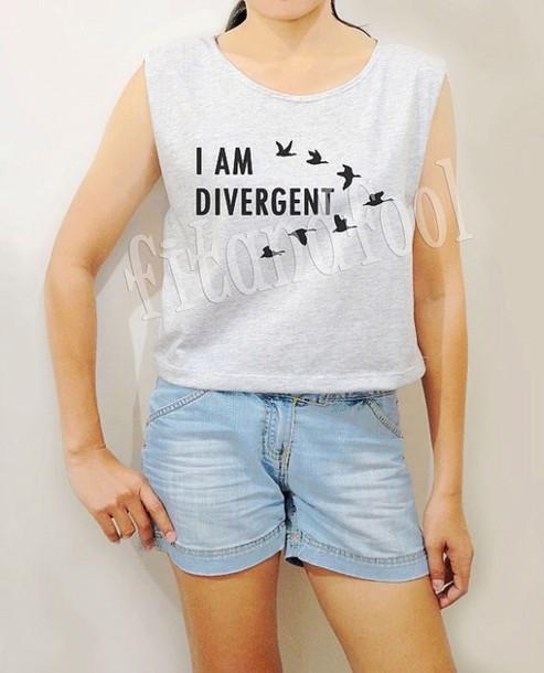top divergent tank top crop tops grey t-shirt birds