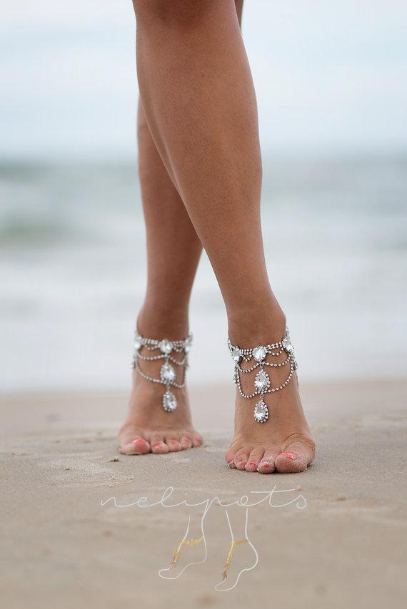 Rhinestone Anklet Bridal Swarovski Crystal Barefoot Sandals Boho