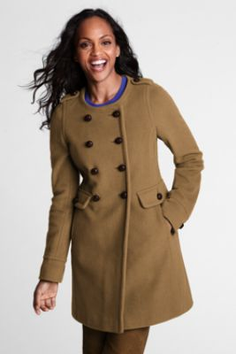Women's Luxe Wool Scoopneck Coat from Lands' End