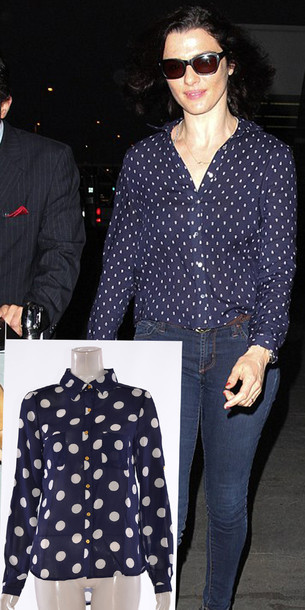 19209a978ff62b shirt women celebrity style rachel weisz polka dot front double pocket  blouse navy top