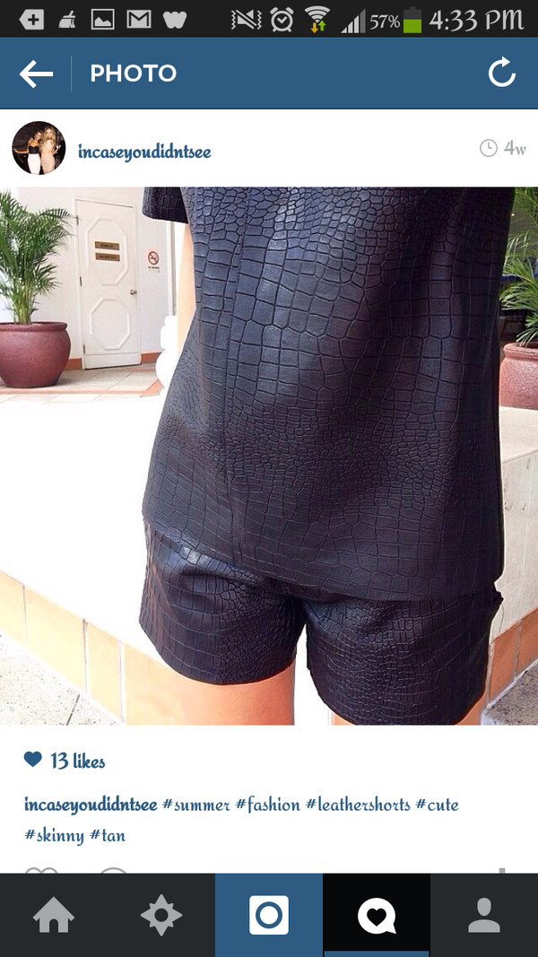 black alligator print fashion leather shorts t-shirt crocodile black t-shirt shirt shorts