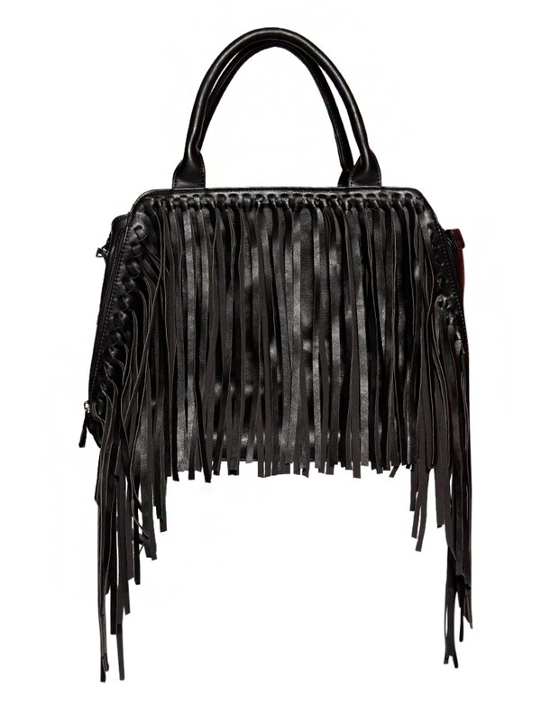 bag black doctor bag pleather bag boho accessories boho trends fringed bag fall trends fall outfits fall outfits fringe trend doctor bag leather bag black fringe bag back to school pre fall transitional pieces cute bags trendy bag affordable accessories pixie market pixie market girl