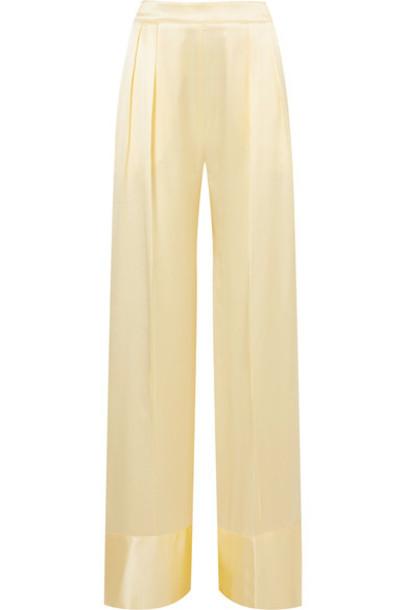 Michael Lo Sordo pants wide-leg pants pastel silk yellow satin pastel yellow