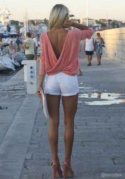 rose shirt white open back pants