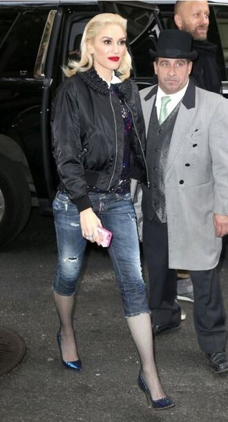 shoes jacket bomber jacket gwen stefani denim