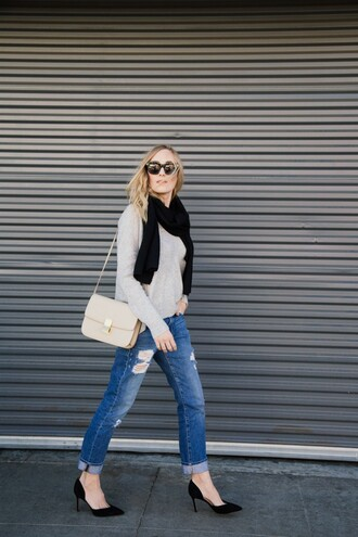 eat sleep wear blogger sweater scarf jeans shoes bag