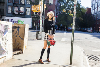 man repeller blogger sweater blouse skirt socks shoes bag watermelon print flats beret plaid skirt
