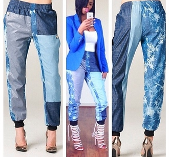 pants denim joggers stone washed high waisted jeans fashion monikah chang boyfriend jeans