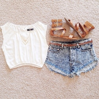 shorts style summer t- shirt tank top white shirt white brown shoes denim shorts jewels t-shirt shoes blouse