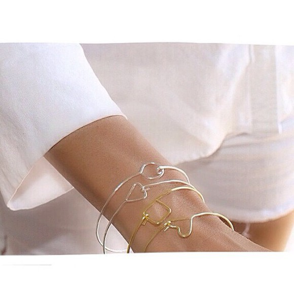 white style jewels handmade hammered bracelet bangle bracelet bracelets heart bangle fashion gold pretty little liars modern family pinterest tumblr outfit friends