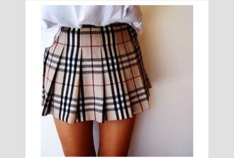 skirt plaid skirt burberry beige skirt patterened