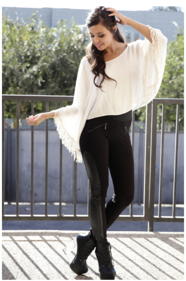 top top lovely lovely tassel top tassel swing swing shape bat wing sleeves bat wing lace tassel love tassel trim style leather leggings highwaisted leggings hipster hippie boho boho chic shoes