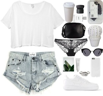shorts white t-shirt white crop tops phone case sneakers nike sneakers