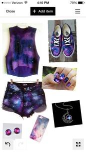 blouse,galaxy print,shorts