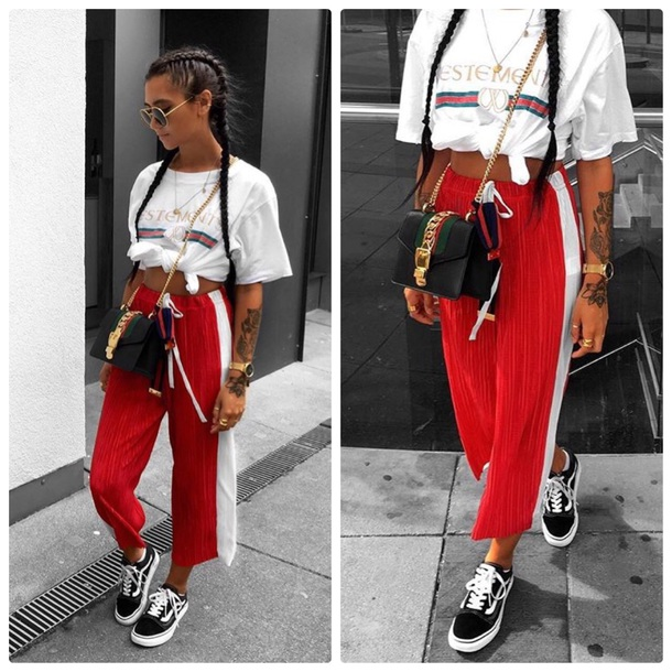 shorts red red trouser tracksuit trousers gucci girly sporty pants plaid skirt skirt skinny jeans skinny pants Reebok adidas vans blouse blogger