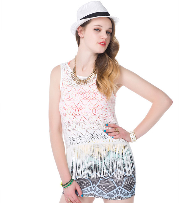 top fringed top cute swag white top summer outfits mini skirt streetstyle streetstyle causal top
