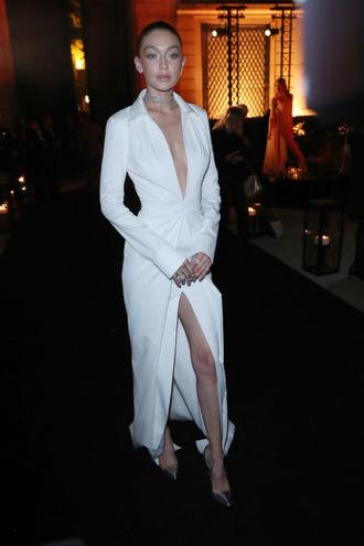 dress white white dress plunge dress plunge v neck slit slit dress pumps gigi hadid paris fashion week 2017