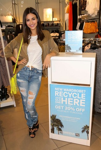 jeans ripped jeans victoria justice top shoes jacket