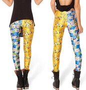 pants,yellow,blue,finn,jake,adventure time,leggings,cute,finn the human