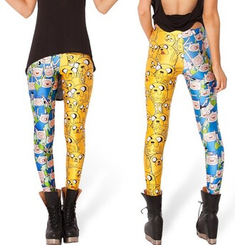 pants yellow blue finn jake adventure time leggings cute finn the human