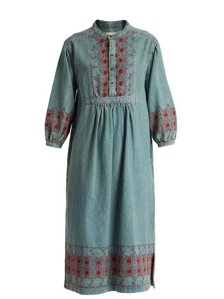 Current/Elliott dress midi dress denim embroidered midi blue