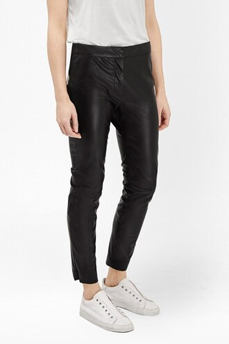 pants cropped pants leather pants