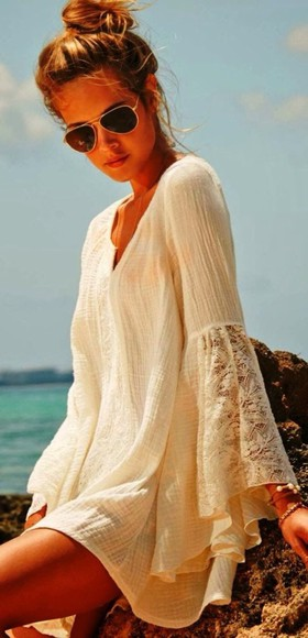dress lace summer ivory beige sleeves spring autumn beautiful lace dress hippy hipster indie boho white dress beach tumblr,