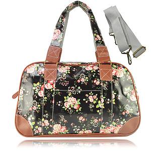 Floral Black Holdall Travel Weekend Shoulder Bag for Ladies | eBay